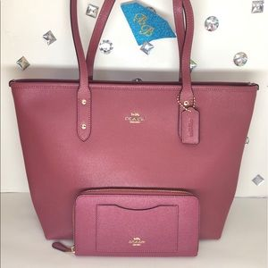 COACH💎CITY ZIP TOTE + WALLET ROUGE RED SET NWT